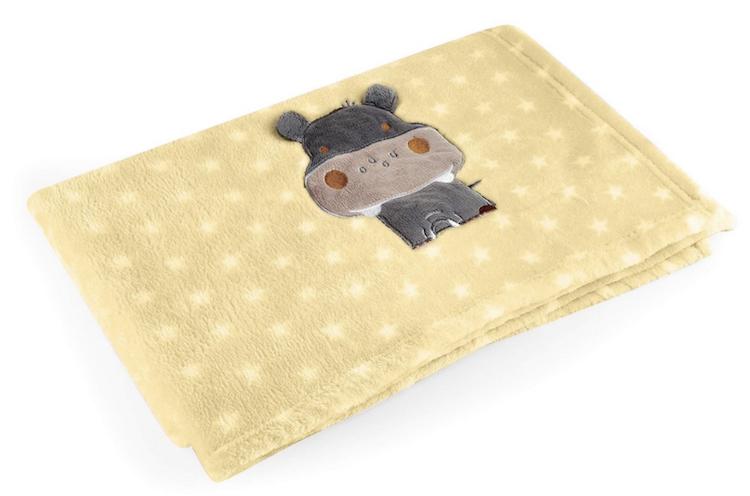 Manta para Bebês Baby Pil Amarela Hipopótamo