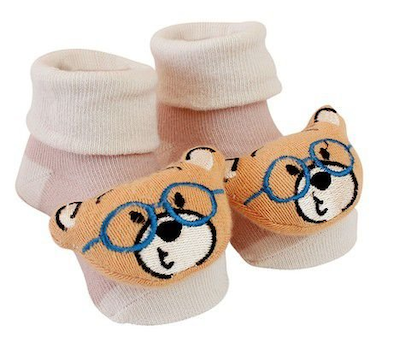 Pantufas com Chocalhos Clingo Urso de Óculos
