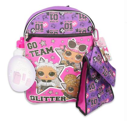 Mochila L.O.L. Go Team Glitter Kit c/ 5 Peças