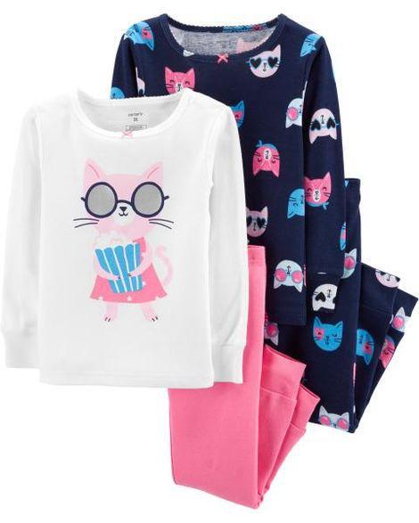Pijama Gatinha com Pipoca kit c/4 Peças Carter's