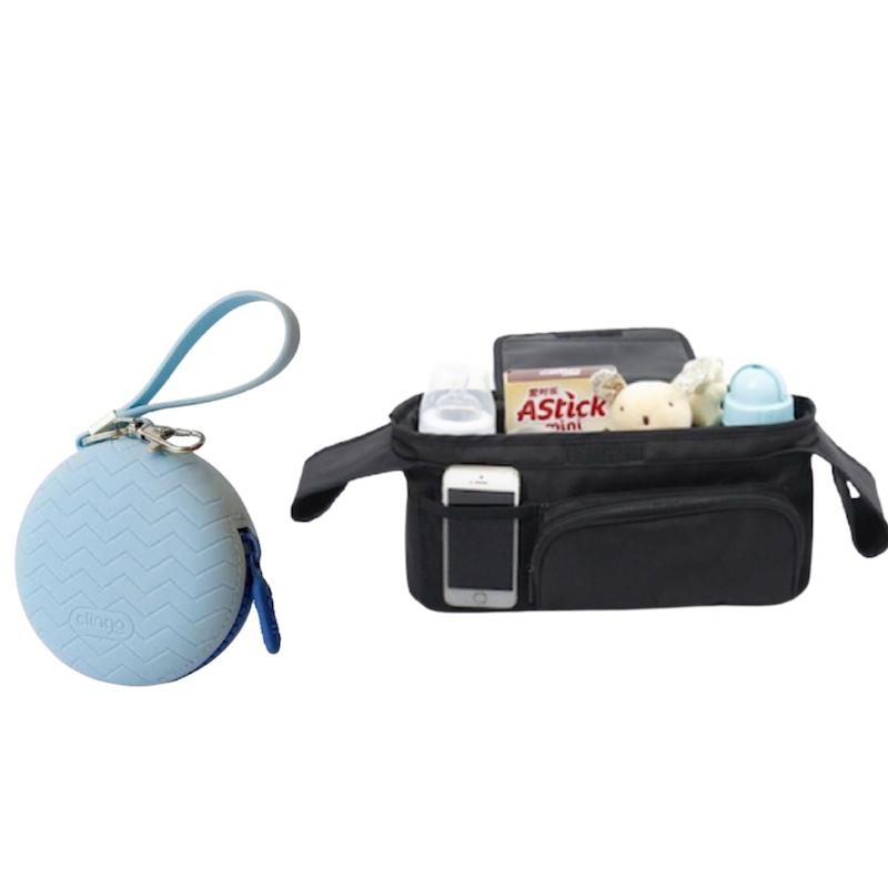 Porta Chupetas Azul e Organizador para Carrinho de Bebê Clingo