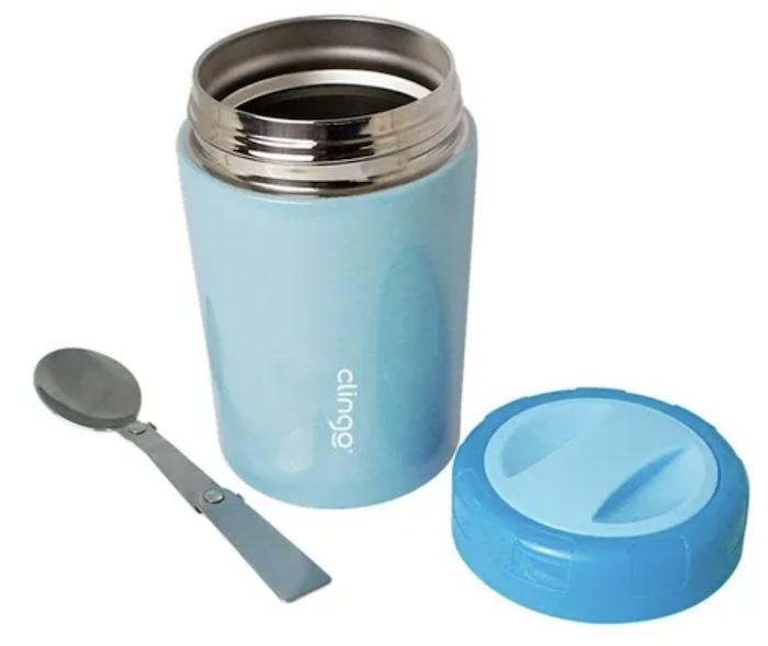 Pote Térmico Premium Clingo Azul com Colher 420ml