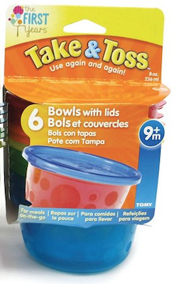 Potes The First Years kit c/6 com tampa Take & Toss Azul