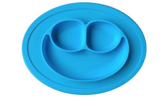 Prato de Silicone com Divisórias Carinha Azul