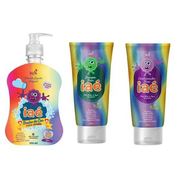 Slime de Banho Kit com Sabonete Líquido Roxo Shampoo e Condicionador