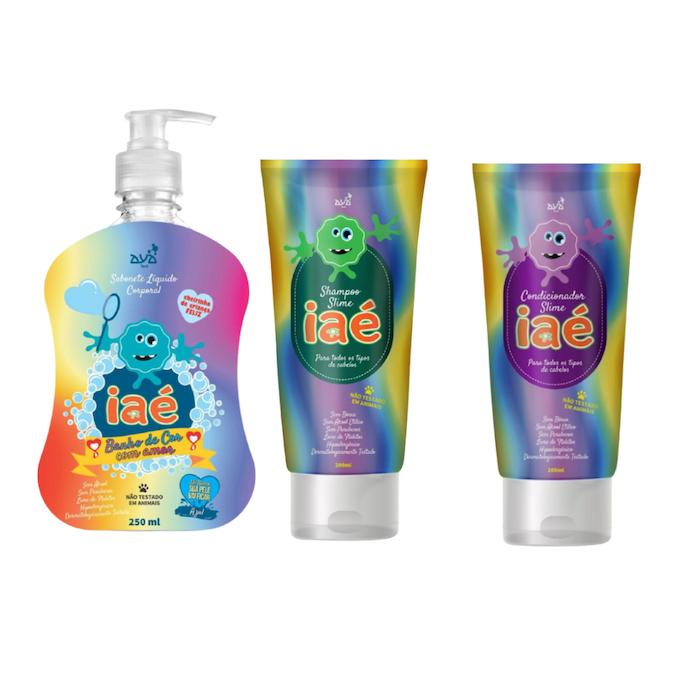 Slime de Banho Kit com Sabonete Líquido Verde Shampoo e Condicionador