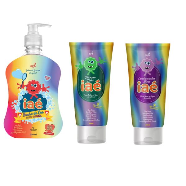 Slime de Banho Kit com Sabonete Líquido Vermelho Shampoo e Condicionador