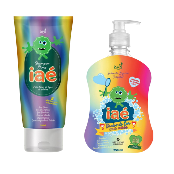 Slime de Banho Kit com Shampoo e Sabonete Líquido Verde Iaé