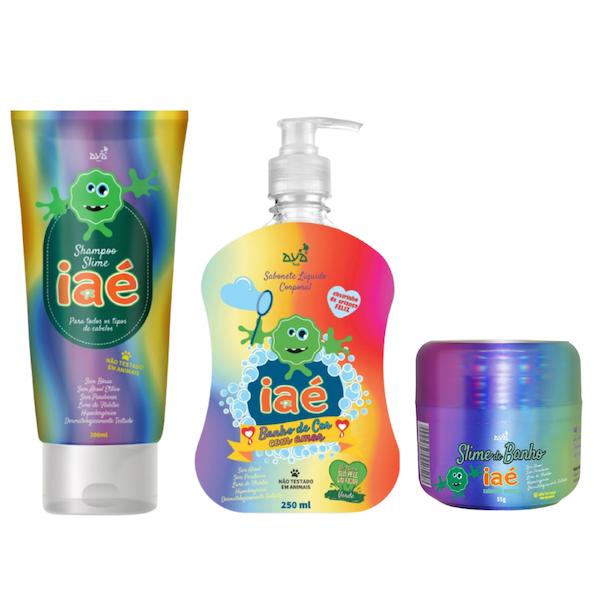 Slime de Banho Kit com Shampoo, Sabonete Líquido Verde e Slime Verde Iaé