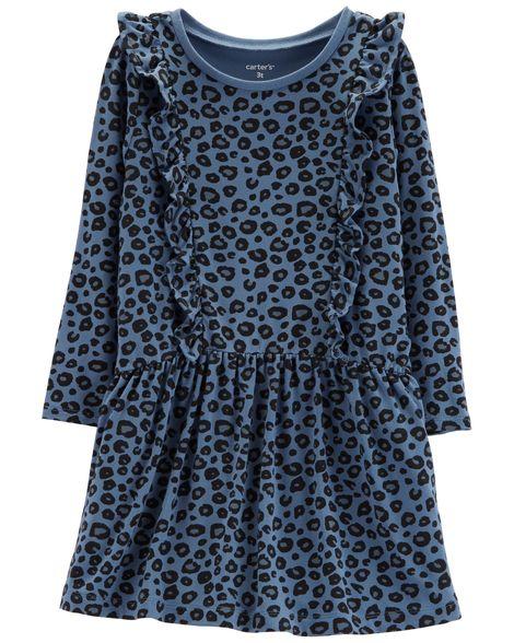 Vestido em Malha Animal Print Azul Carter's