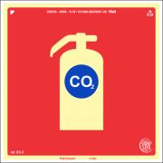 Sinalização Certificada para extintor de incêndio CO2 E5c 15x15cm - PVC 2mm