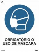 Sinalização de ''OBRIGATÓRIO O USO DE MÁSCARA'' (Covid-19)  VC00 15x20cm - PVC 2mm