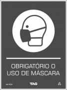 Sinalização de ''OBRIGATÓRIO O USO DE MÁSCARA'' (Covid-19)  VC01 15x20cm - PVC 2mm