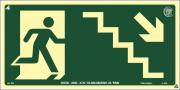 Sinalização Certificada de rota de fuga escada desce à direita S8 12x24cm - PVC 2mm