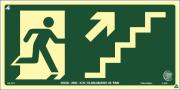 Sinalização Certificada de rota de fuga escada sobe à direita S11 12x24cm - PVC 2mm