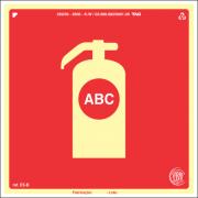 Sinalização Certificada para extintor de incêndio ABC E5b 15x15cm - PVC 2mm