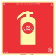 Sinalização Certificada para Extintor de Incêndio Pó E5p 15x15cm - PVC 2mm