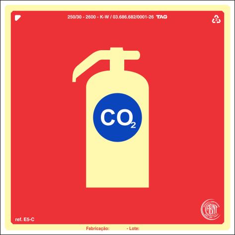 Sinalização Certificada para extintor de incêndio CO2 E5c 20x20cm - PVC 2mm