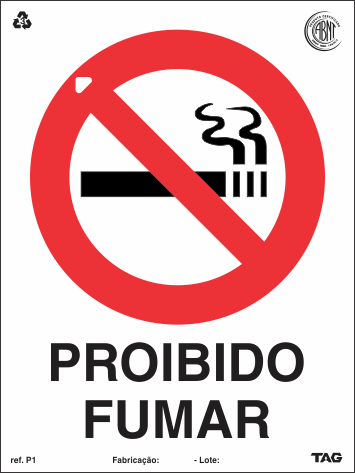 Sinalização Certificada de Proibido Fumar P1 15x20cm - PVC 2mm