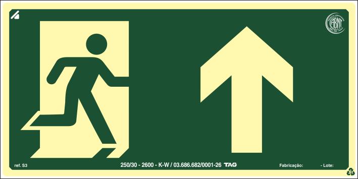 Sinalização Certificada de rota de fuga em frente S3 12x24cm - PVC 2mm