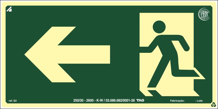 Sinalização Certificada de rota de fuga à esquerda S2 12x24cm - PVC 2mm