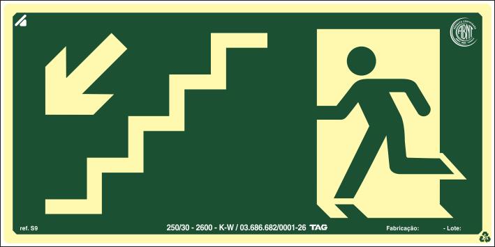 Sinalização Certificada de rota de fuga escada desce à esquerda S9 12x24cm - PVC 2mm