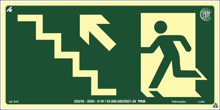 Sinalização Certificada de rota de fuga escada sobe à esquerda S10 12x24cm - PVC 2mm