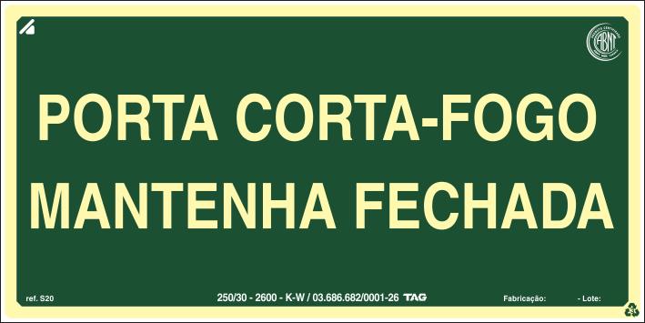 Sinalização Certificada de rota de fuga porta corta-fogo S30 12x24cm - PVC 2mm