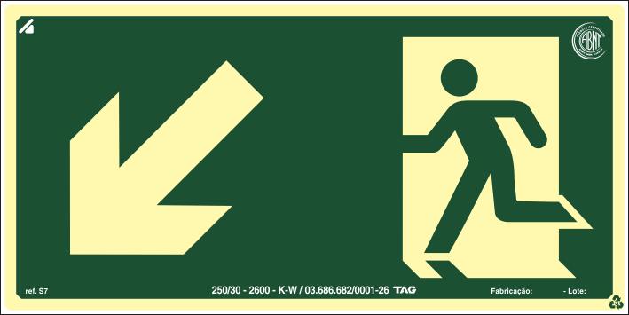 Sinalização Certificada de rota de fuga rampa desce à esquerda S7 12x24cm - PVC 2mm