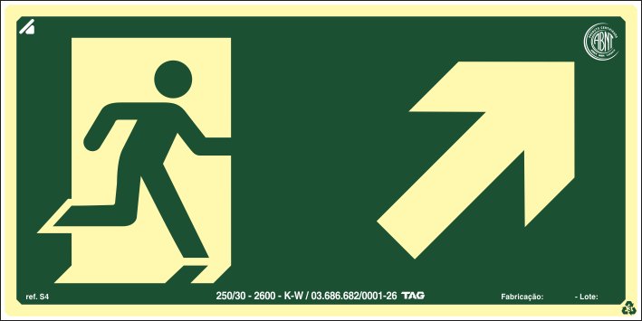 Sinalização Certificada de rota de fuga rampa sobe à direita S4 12x24cm - PVC 2mm