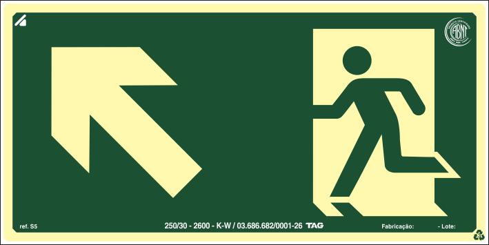Sinalização Certificada de rota de fuga rampa sobe à esquerda S5 12x24cm - PVC 2mm