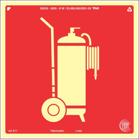 Sinalização Certificada para Extintor de Incêndio Carreta E11 20x20cm - PVC 2mm