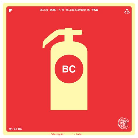 Sinalização Certificada para extintor de incêndio BC E5bc 20x20cm - PVC 2mm