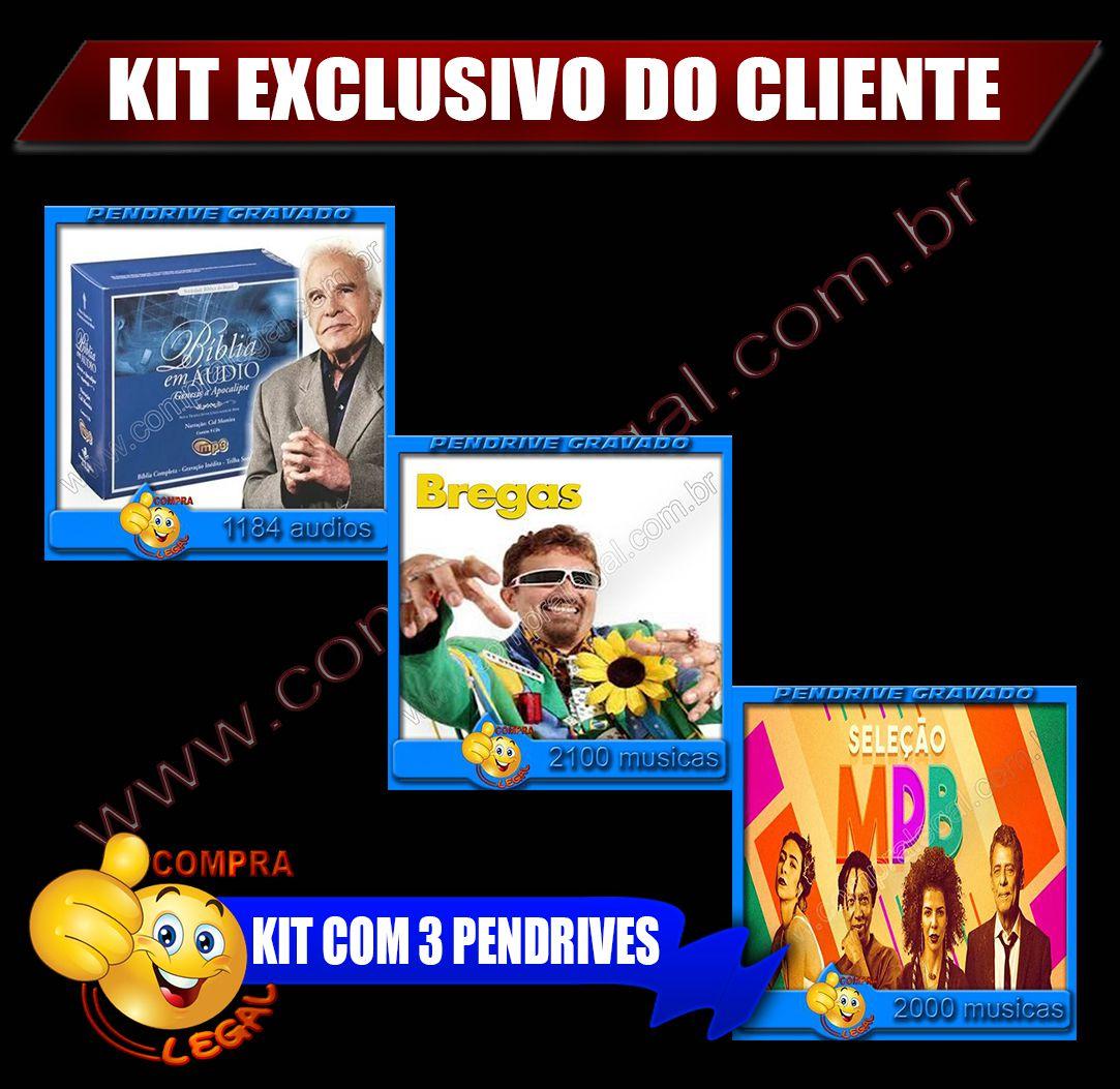 KIT 3 PENDRIVES GRAVADOS ESCOLHA DO CLIENTE
