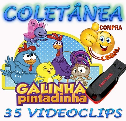 PENDRIVE GRAVADO COLETANEA VIDEOCLIPES GALINHA PINTADINHA