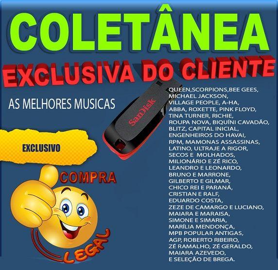 PENDRIVE GRAVADO COM MUSICAS COLETÂNEA EXCLUSIVA DO CLIENTE