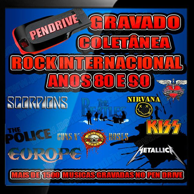 PENDRIVE GRAVADO ROCK INTERNACIONAL