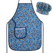 Avental com Touca Cozinheiro Azul Tropical