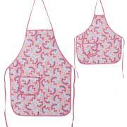Avental De Cozinha Mãe E Filha Unicórnio Rosa
