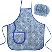 Avental Infantil Com Chapéu De Cozinheiro Azul Azulejo