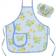 Avental Infantil Com Chapéu De Cozinheiro Azul Limão