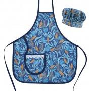 Avental Infantil Com Chapéu De Cozinheiro Azul Tropical