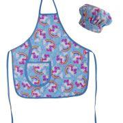 Avental Infantil Com Chapéu De Cozinheiro Unicórnio Azul