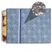 Capa De Assadeira Retangular Grande  Térmica Azul Azulejo