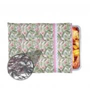 Capa De Assadeira Retangular Grande  Térmica Rosa Tropical