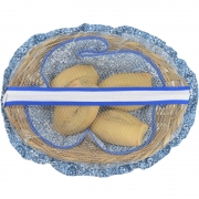 Cesta De Pão De Bambu Azul Azulejo
