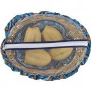 Cesta De Pão De Bambu Azul Tropical