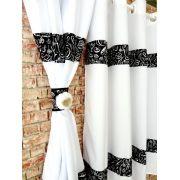 Cortina De Cozinha Com Barrado Estampado { 2m X 1,50m Preto E Branco} Com Abraçadeira