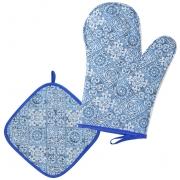 Luva De Cozinha Térmica E Pegador De Panela Azul Azulejo