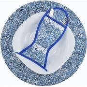 Sousplat E Porta Talheres Azul Azulejo